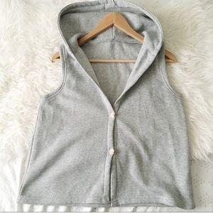 Gray Sleeveless Sweatshirt Hoodie